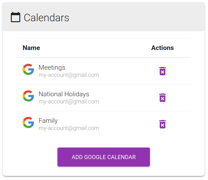 Screenshot of the dashboard calendars panel