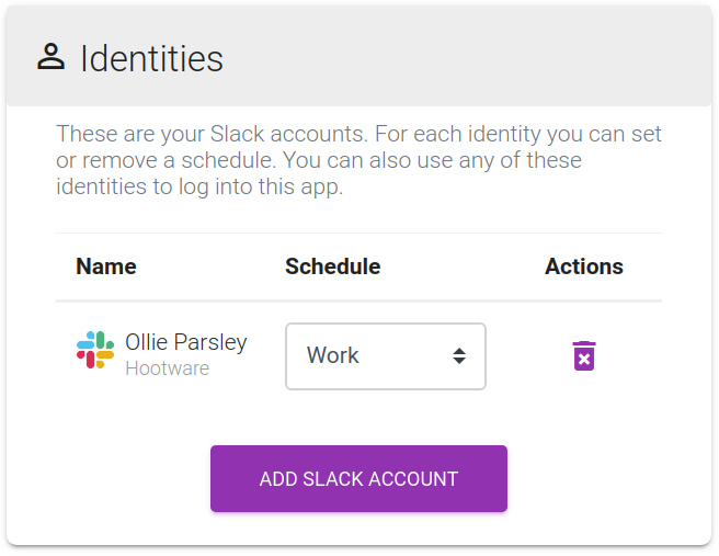 Screenshot of the dashboard identities panel