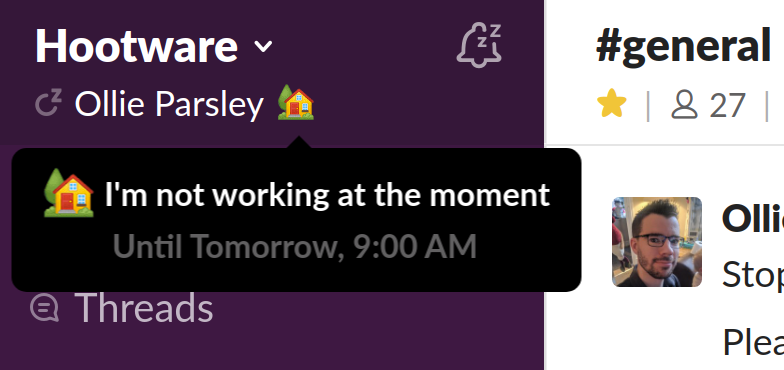 Example Slack status when using Don't Interrupt
