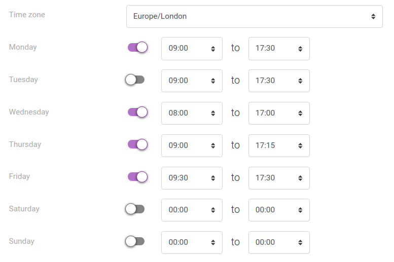Screenshot of the schedule working hours panel
